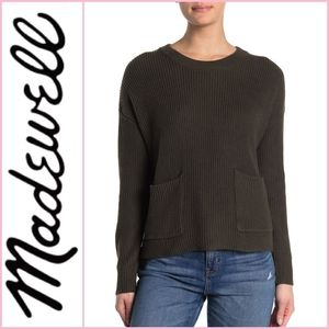 Madewell Patch Pocket Pullover Sweater Olive Green